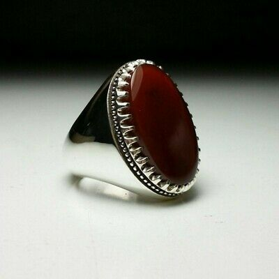 Brown Aqeeq Mens Stone Ahlul Bayt Yemeni Natural Agate rings 925 sterling silver