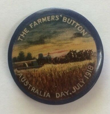 July 1918 Australia Day The Farmers Button Appeal Day Button Badge