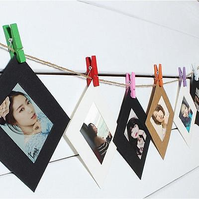 10Pcs Paper Frame with Clips  Wall Photo Frame DIY Hanging Picture Album QK