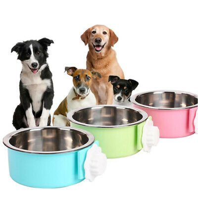 Stainless Steel Nonslip Pet Dog Cat Feeder Fixed Stand Food Water Bowl QK