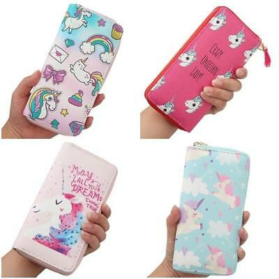 Cute Unicorn Long Zip Wallet Purse Credit Card Holder Women Clutch Wallet Bag QK