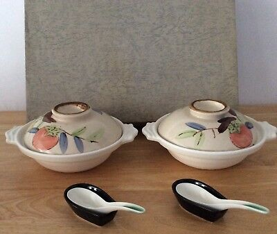"""Vintage Japanese Soup Bowl Set With Lids & Spoons """" Very Hard To Find"""""""