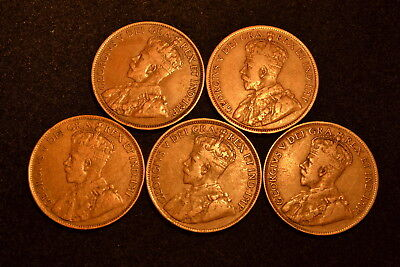 5 Coins Of Canada Large Cent Y-1913, 1916, 1917, 1918 & 1919.