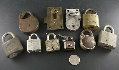 Collection 10 Vintage Padlocks  Yale Junior Reese  England Etc Ready To Frame