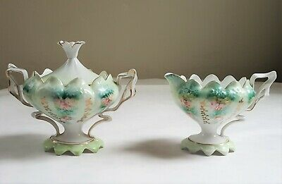 Antique Prussia footed Sugar and Creamer set lovely floral roses RIBBON HANDLES