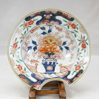 D504: Very rare Japanese old GENROKU-IMARI colored porcelain HIGE-ZARA plate
