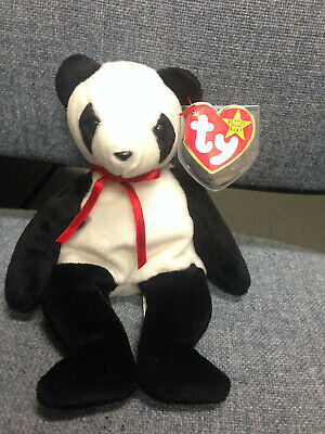 Ty Beanie Baby FORTUNE Panda bear, with extra Canadian tush tag w lucky number