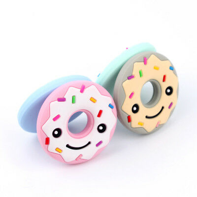 Silicone Teethers Baby Doughnut Teether Cute Chew Pendant Food Grade Silicone