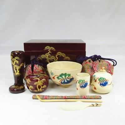 D153: High-class Japanese lacquered CHABAKO box with MAKIE and some tea utensils