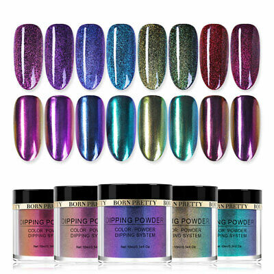 BORN PRETTY Dipping Powder System Chameleon Mirror Effect Nail Art Kit NO UV Gel
