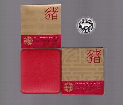 2007  Fine Silver Proof $1 Lunar Series Year of the Pig Coin