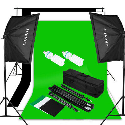 Craphy SHLP-0125 1250W 5500K Softbox Lighting Kit + 10x6.5ft Contexte System+