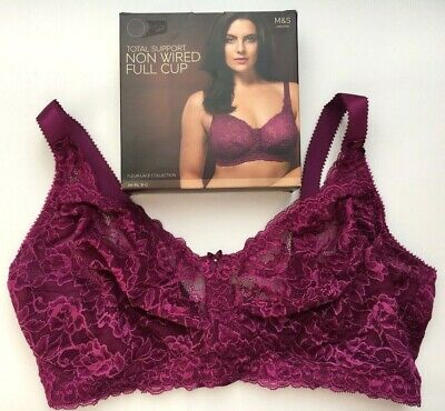 M /& S Ladies Total Support Non Wired Embroidered Big Bust Full Cup Bra Crimson