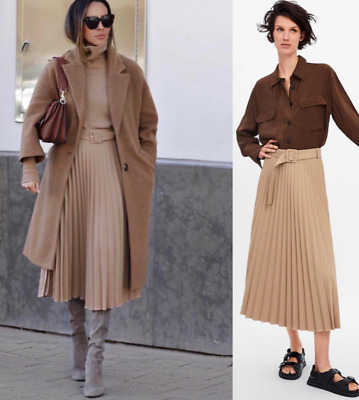e3f2900ef7 Zara Woman Long Pleated Skirt With Belt Lined Buckled Sand 4886/055 New Ss19