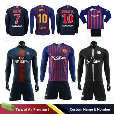 39405e1fef4 18 19 Kids Adult Football Full Kit Youth Jersey Long Strips Soccer Sports  Outfit