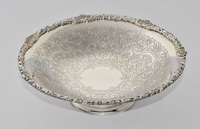 Vintage Strachan Silver Plate Footed Bonbon Bowl / Dish - Etched & Shell 16.5cm