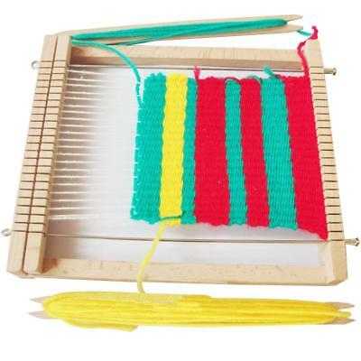 DIY Wooden Weaving Loom Toy Assembly Coloring Tools Kits Pretend Play Game Gift