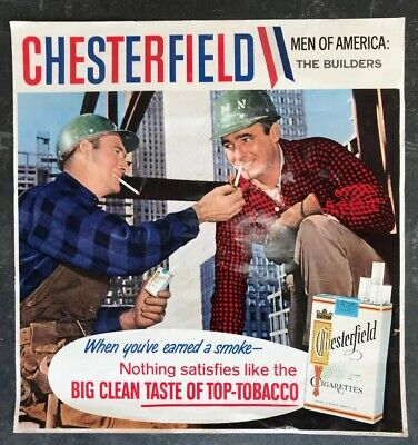 CHESTERFIELD Genuine Vintage Cigarettes Shop Display Poster Sign Tobacco