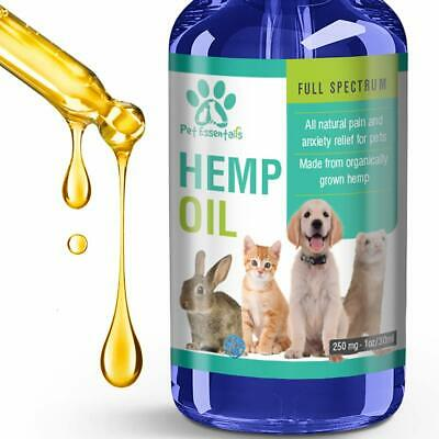 Cbd Oil for Dogs Cats Pets  (250mg) - Anxiety Relief -Hemp Calming Drops - 30 ml