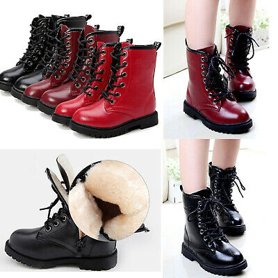 Kids Girls Punk Lace Up Winter Snow Boots Motorcycle boots Martin Boots Shoes