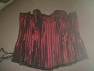 Red and Black Steel boned overbust corset approx size 10 - 12