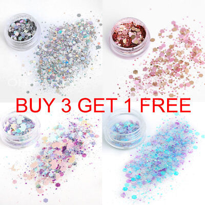 Chunky Glitter Mixed Pot Nail Face Eyes Body Festival Dance ClubTattoo Cosmetic