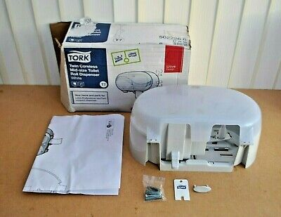 NEW Tork Twin Coreless Mid-Size Toilet Paper Roll Dispenser White 502226.6 BOXED