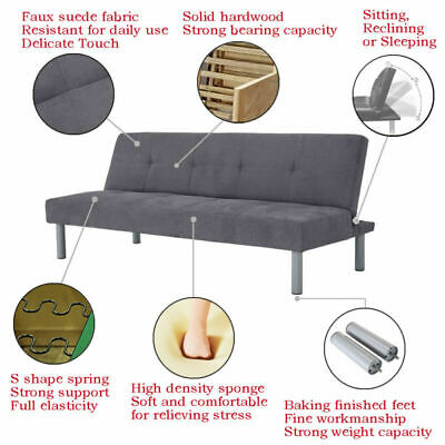 Fabric Sofa Bed Recliner 3 Seater Sofa Beds Settee 4 Colours Modern Design HOT