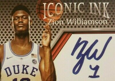 "Zion Williamson Rookie Iconic Ink Duke Autograph Card""Player of The Year Award"""