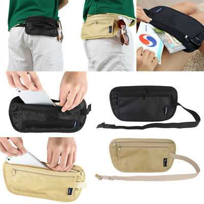 Travel Passport Waist Pouch Security Bag Money Belt Phone Ticket Card Zip Wallet