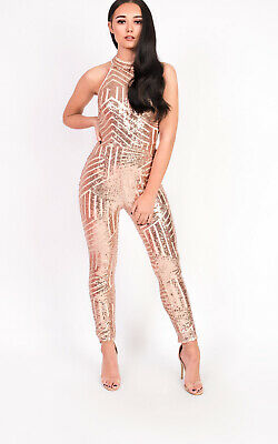 9393bf38764f IKRUSH WOMENS KADY Fitted Sequin High Neck Jumpsuit -  58.53