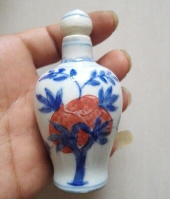 Collectible China handwork Porcelain Painting fruit trees Lucky Snuff Bottle