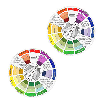 2x Artist Tattoo Pigment Paint Color Mixing Guide Wheel Match Chart