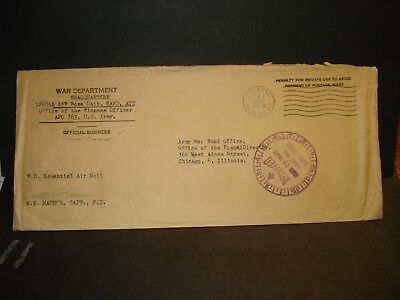 APO 763 TUNIS, TUNISIA 1945 Official WWII Army Cover 1260th AAFBU NAFD ATC