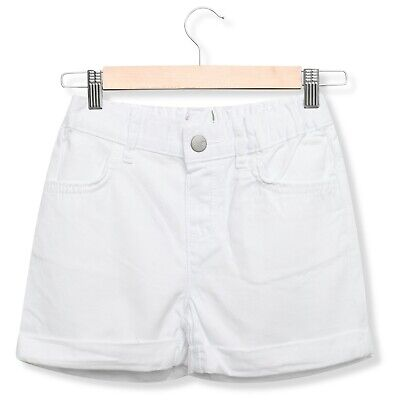 Girls Toddler White Denim Shorts Casual Holiday Summer Adjustable Waist