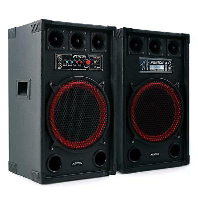Aktiv Dj Pa Bass Boxen Lautsprecher Set 800W Party Sound System Usb Sd 2X Mic In