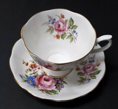 Royal Albert Bone China Cup Saucer White Gold Trim Pink Roses Blue Flowers Vtg