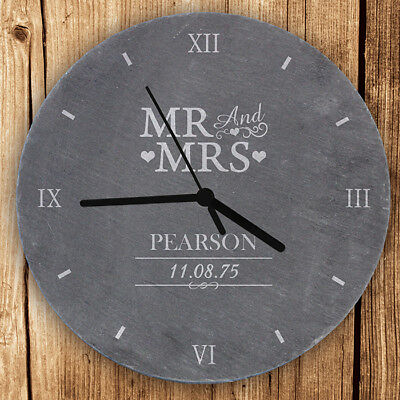 Personalised Mr and Mrs Slate Clock Wedding Anniversary New Home Just Married