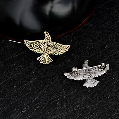 Viking Flying Raven Coat Collar Brooches Vinatge Pins Button Metal Fashion New