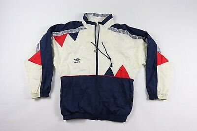 9c0c38d5193 Vintage 90s New Umbro Mens Small Spell Out Lined Nylon Soccer Jacket USA  White
