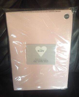 M&S Baby 2 x Cot fitted pure cotton Jersey sheets 120cmx60cmx12.5 cm approx