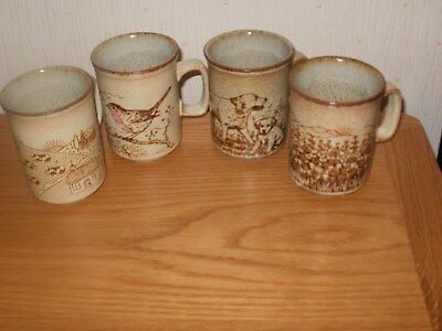4 Dunoon, Scotland pottery mugs