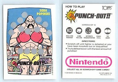 1989 Nintendo Game Pack Topps Punch Out Unscartched Screen Card 8 of 10