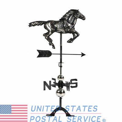 Galloping Horse Weather Vane Hand-Made Matte 3D Stainless Steel Ornament Outdoor