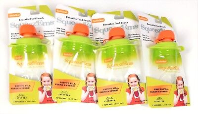 BooginHead Squeez'Ems Reusable Food Pouches Lot of 8 (4 Packs - 2 in each pack)