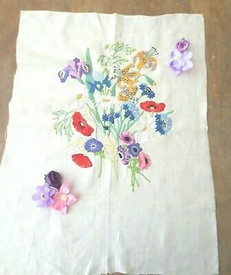 Stunning hand  embroidered flowers unframed picture poppies, daisies,orchids