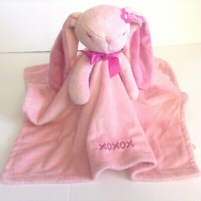 Honey Bunny Pink Bunny Security Blanket Lovey XOXOX Embroidery Flower