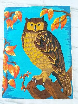 Owl Crewel Embroidery Finished Wall Hanging 9 x 12 Unframed Blue Orange Brown