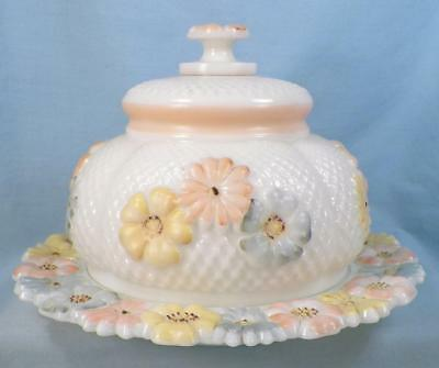 Cosmos Butter Dish Milk Glass Enamel Flowers EAPG Consolidated Lamp Co. Antique