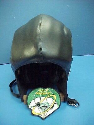 HALO High Altitude Low Opening Leather Parachutist Helmet  Oxygen Mask Receivers